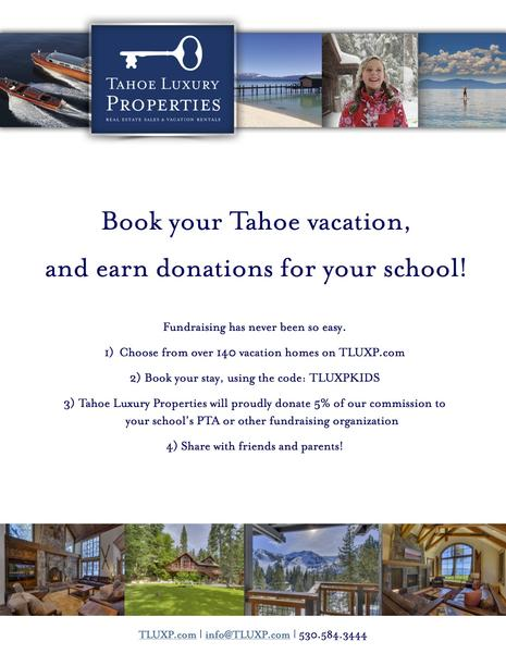 Booster Fundraiser - Book a Trip to Tahoe
